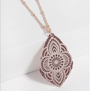 Maurices Pink Glitter Overlay Pendant Necklace Set